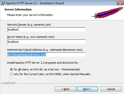 Type in localhost in network domain and server name