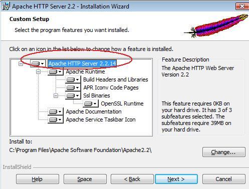 Select Apache HTTP Server 2.2.14