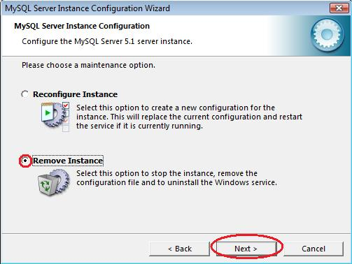 Select Remove Instance